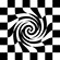 Closeup stylized black and white chess board whose interior elements are drawn into a swirl.
