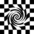 Graphic of black and white chess board whose interior elements are drawn into a swirl.