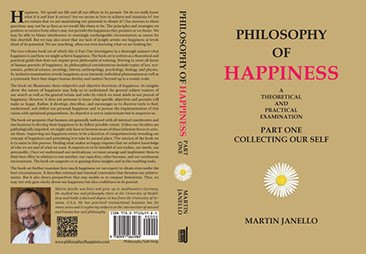 Front, spine, back cover of Philosophy of Happiness Part One paperback. Black and red writing on light brown background with white daisy.